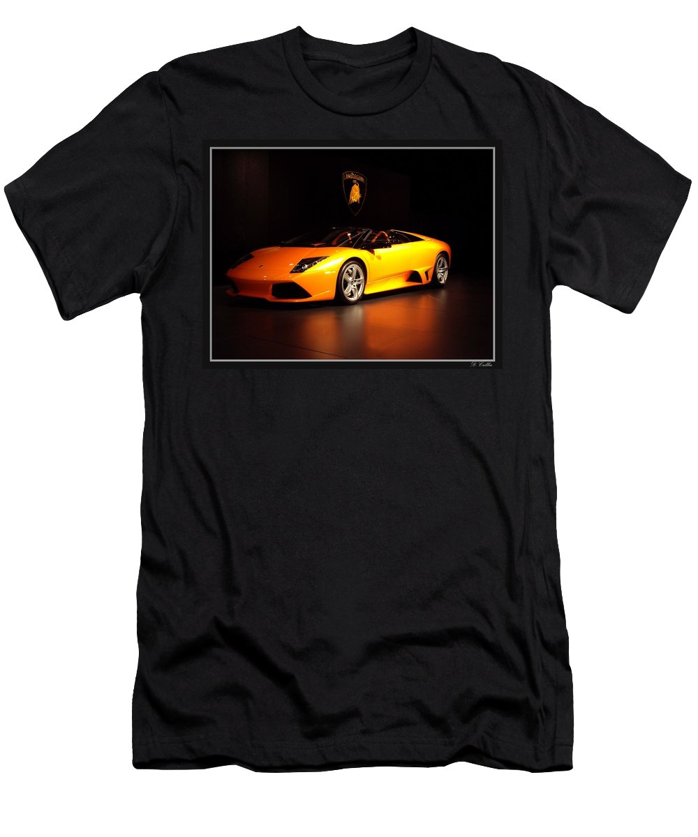 Car Men's T-Shirt (Athletic Fit) featuring the photograph Lamborghini by Davandra Cribbie