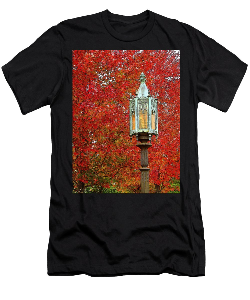 Fine Art Men's T-Shirt (Athletic Fit) featuring the photograph Lamp Post In Fall by Rodney Lee Williams