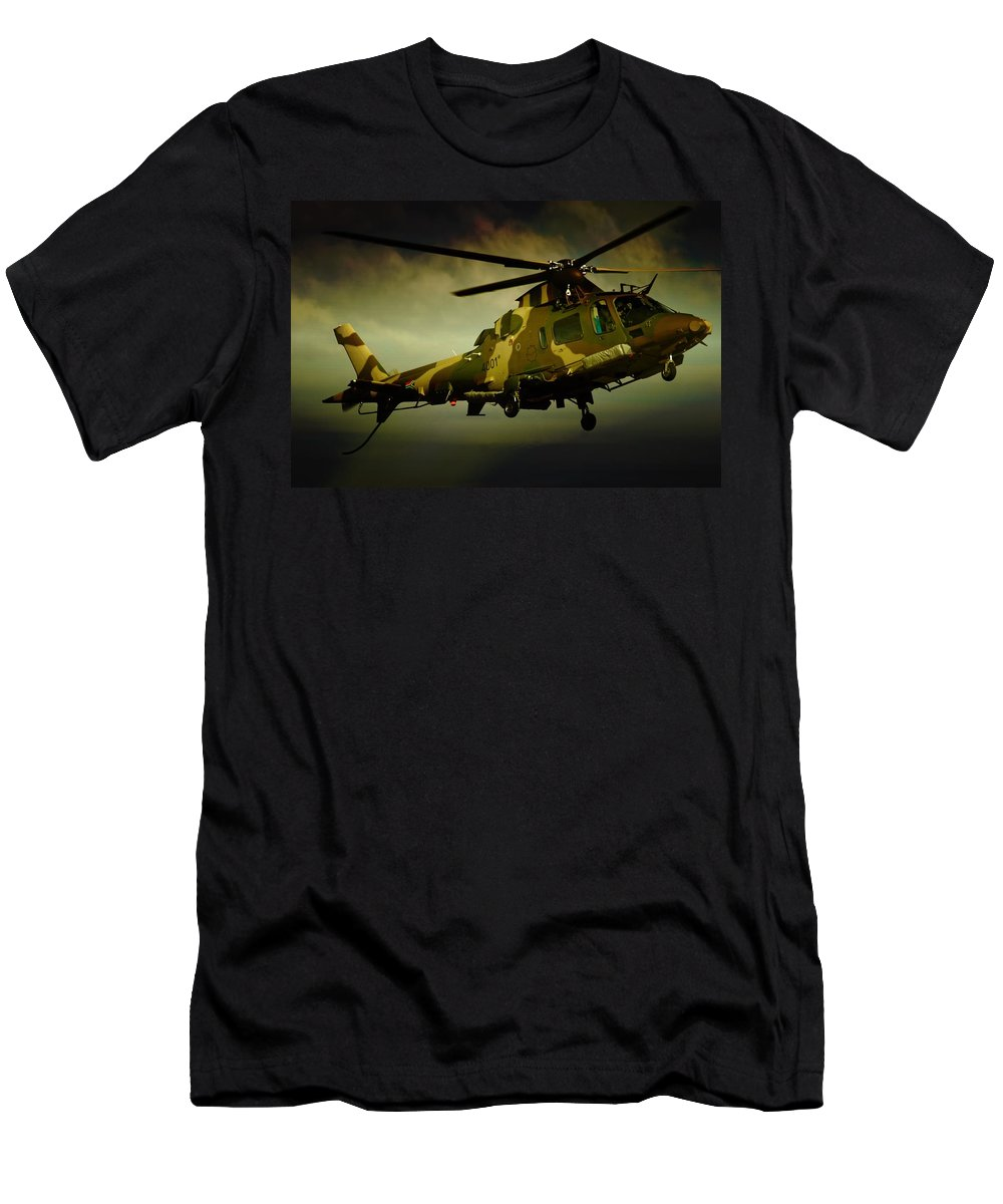 Light Utility Helicopter Men's T-Shirt (Athletic Fit) featuring the photograph Landing Blades by Paul Job