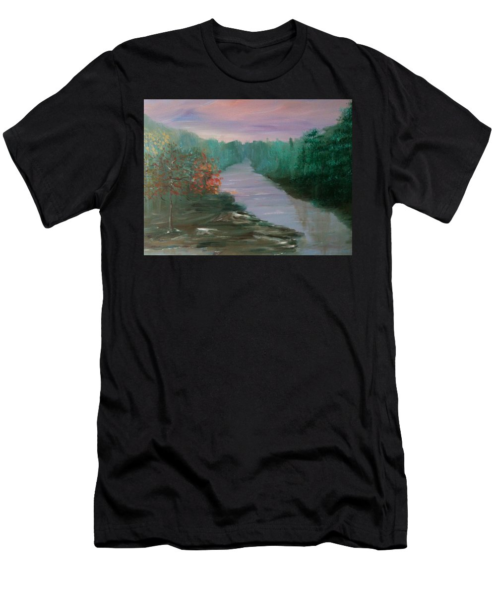 Landscape Men's T-Shirt (Athletic Fit) featuring the painting River Dreamscape by Laura Inniger