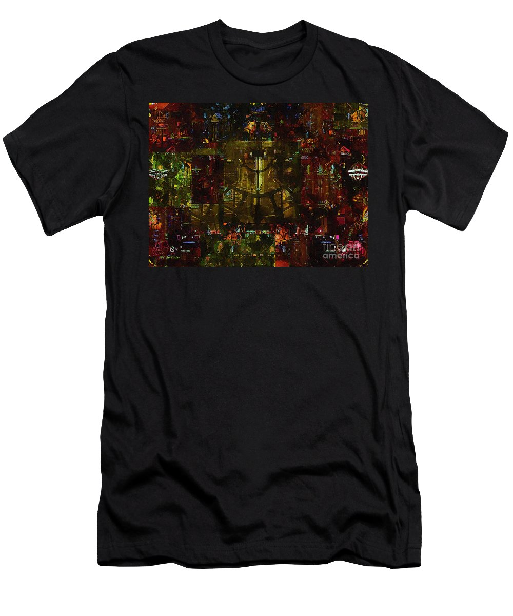 Abstract Men's T-Shirt (Athletic Fit) featuring the painting Landscape Of Hell by RC DeWinter