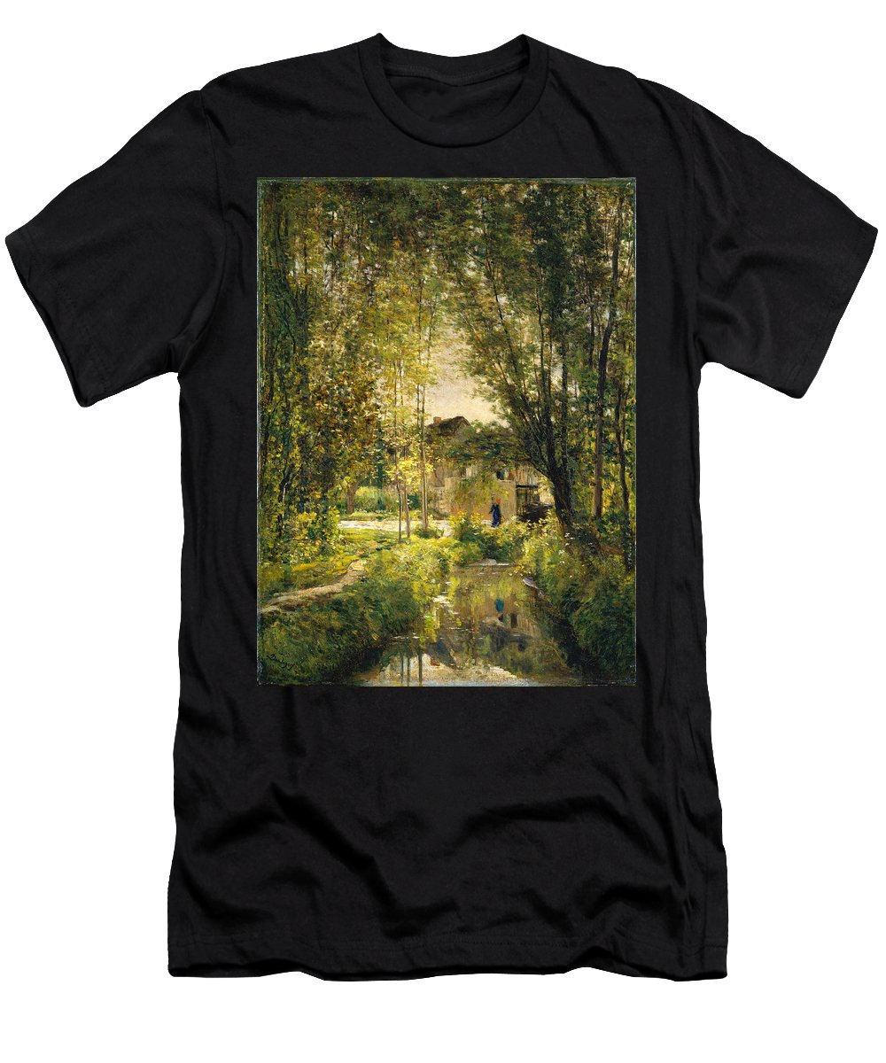 Charles-francois Daubigny Men's T-Shirt (Athletic Fit) featuring the painting Landscape With A Sunlit Stream by Charles-Francois Daubigny