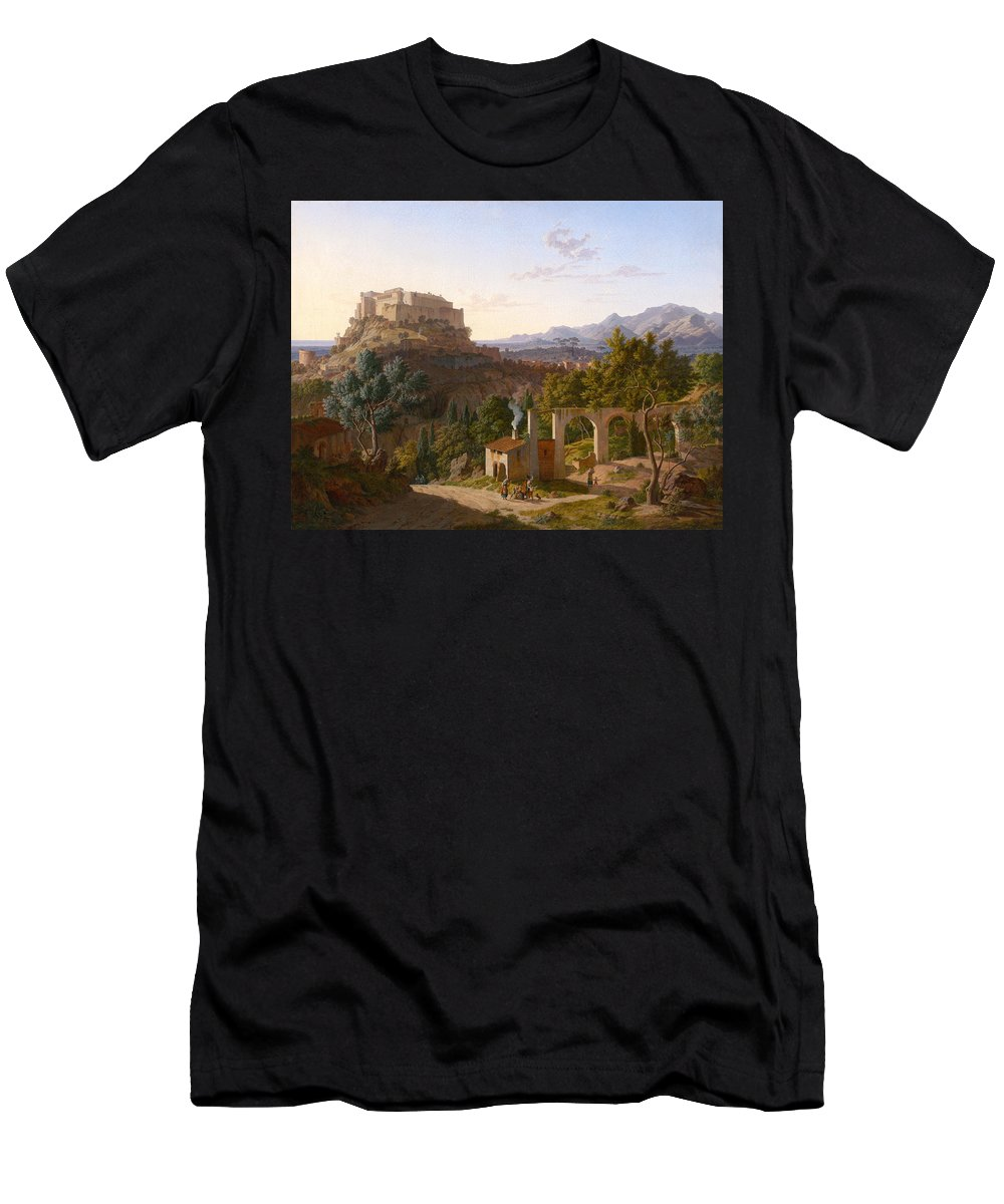 Leo Von Klenze Men's T-Shirt (Athletic Fit) featuring the painting Landscape With The Castle Of Massa Di Carrara by Leo von Klenze