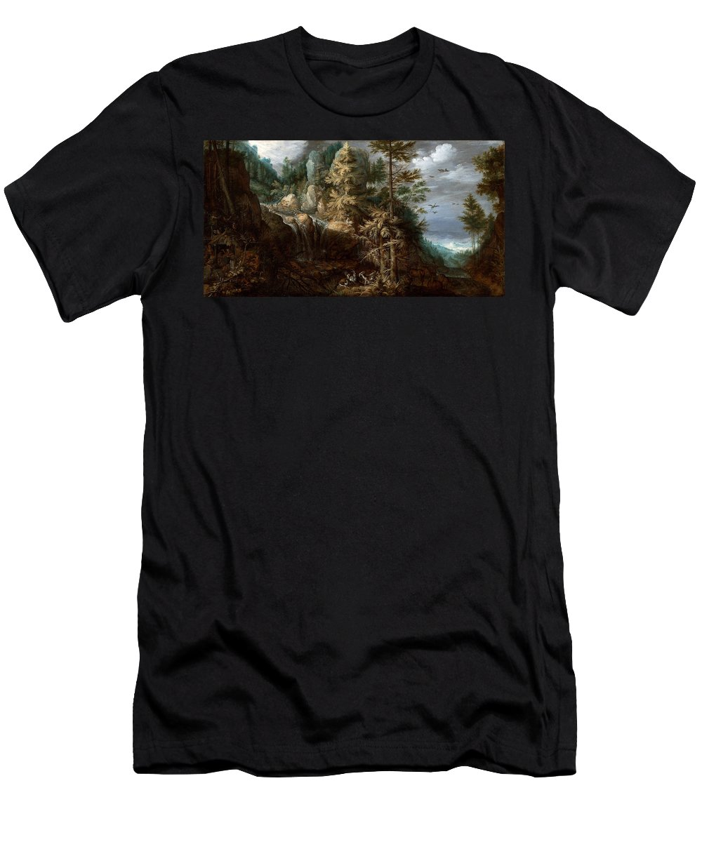 Roelant Savery Men's T-Shirt (Athletic Fit) featuring the painting Landscape With The Temptation Of Saint Anthony by Roelant Savery