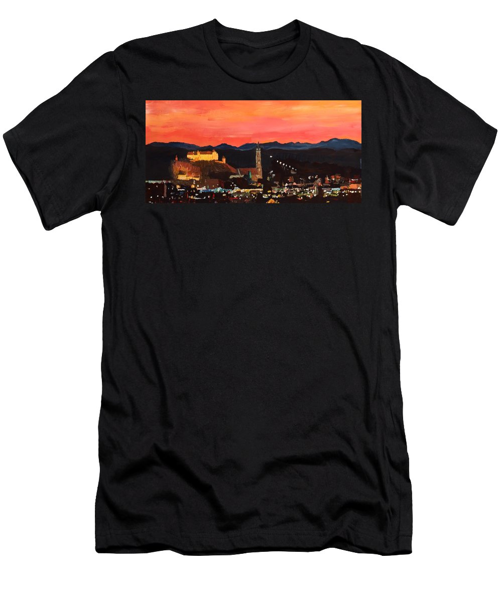 Landshut Men's T-Shirt (Athletic Fit) featuring the painting Landshut At Dawn With Alps by M Bleichner