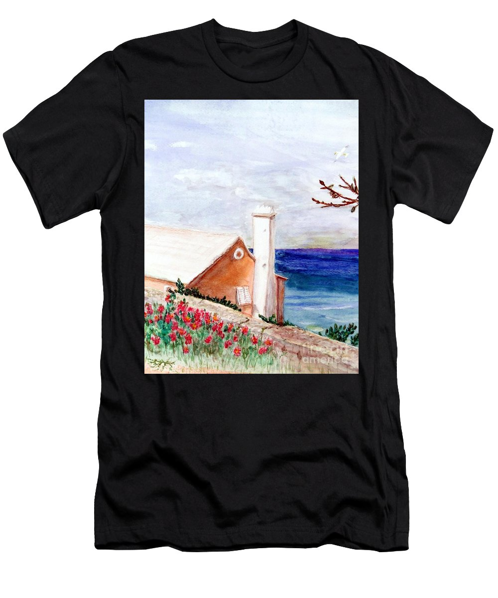 Bermuda Men's T-Shirt (Athletic Fit) featuring the mixed media Lane In Old Bermuda by Barbie Corbett-Newmin