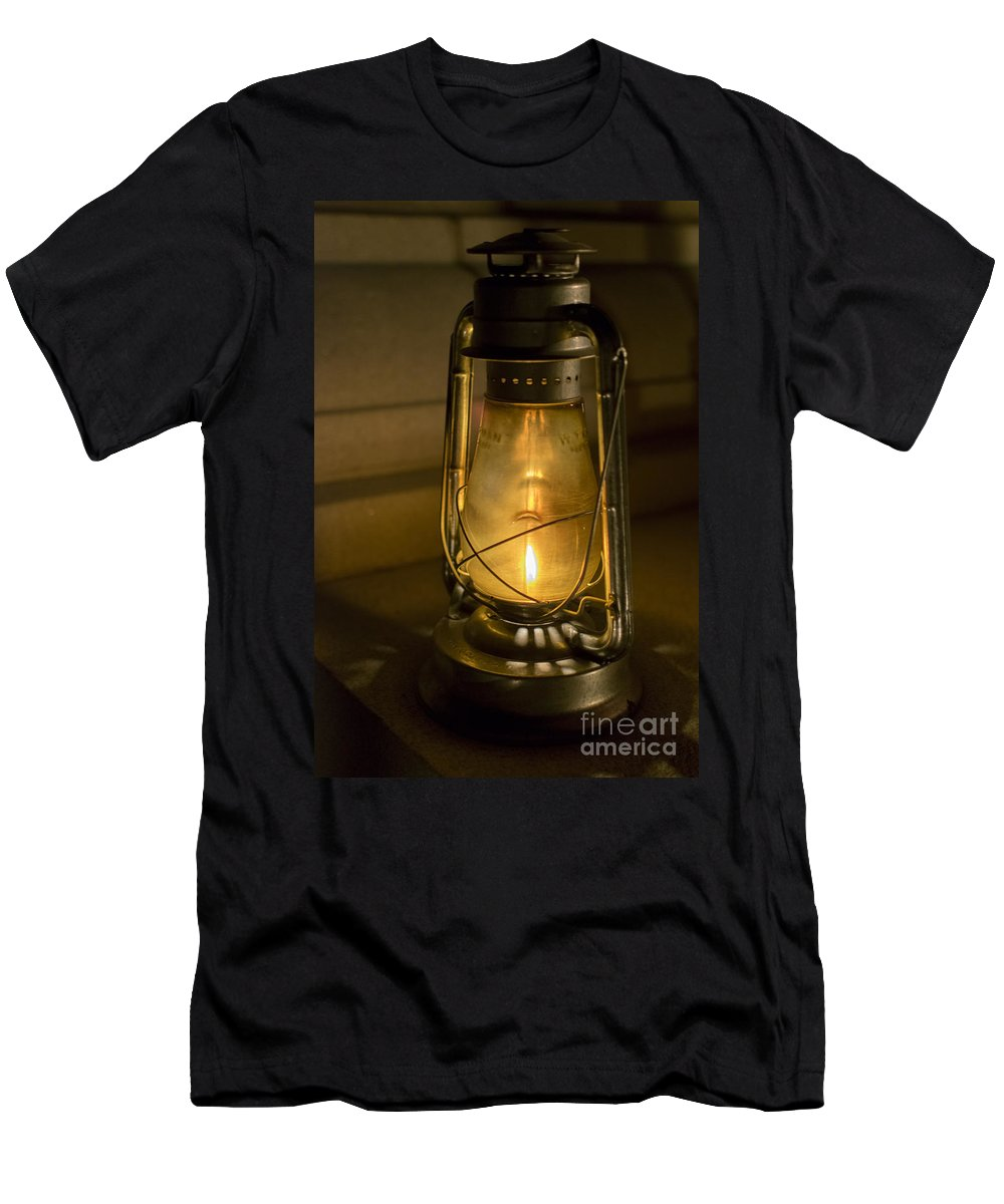 Cemetery Men's T-Shirt (Athletic Fit) featuring the photograph Lantern On Granite by Jeffrey Miklush