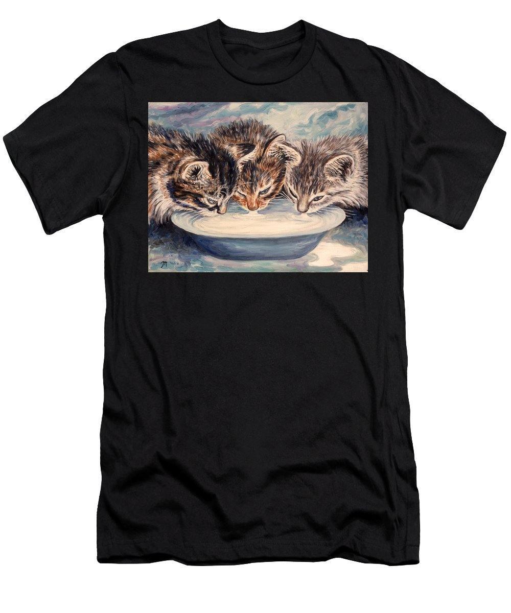 Kittens Men's T-Shirt (Athletic Fit) featuring the painting Lap Of Luxury Kittens by Linda Mears