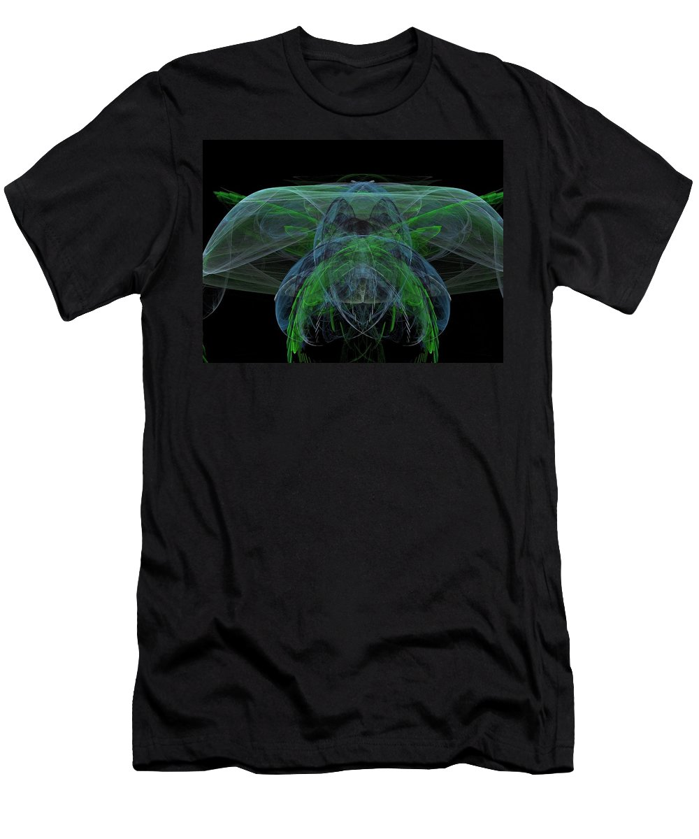 Fractal Men's T-Shirt (Athletic Fit) featuring the painting Large Jelly Fish by Bruce Nutting