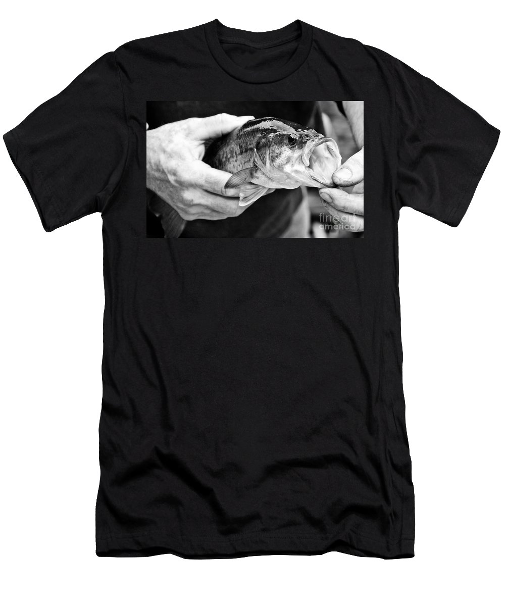 Fish Men's T-Shirt (Athletic Fit) featuring the photograph Large Mouth Bass by Cheryl Baxter