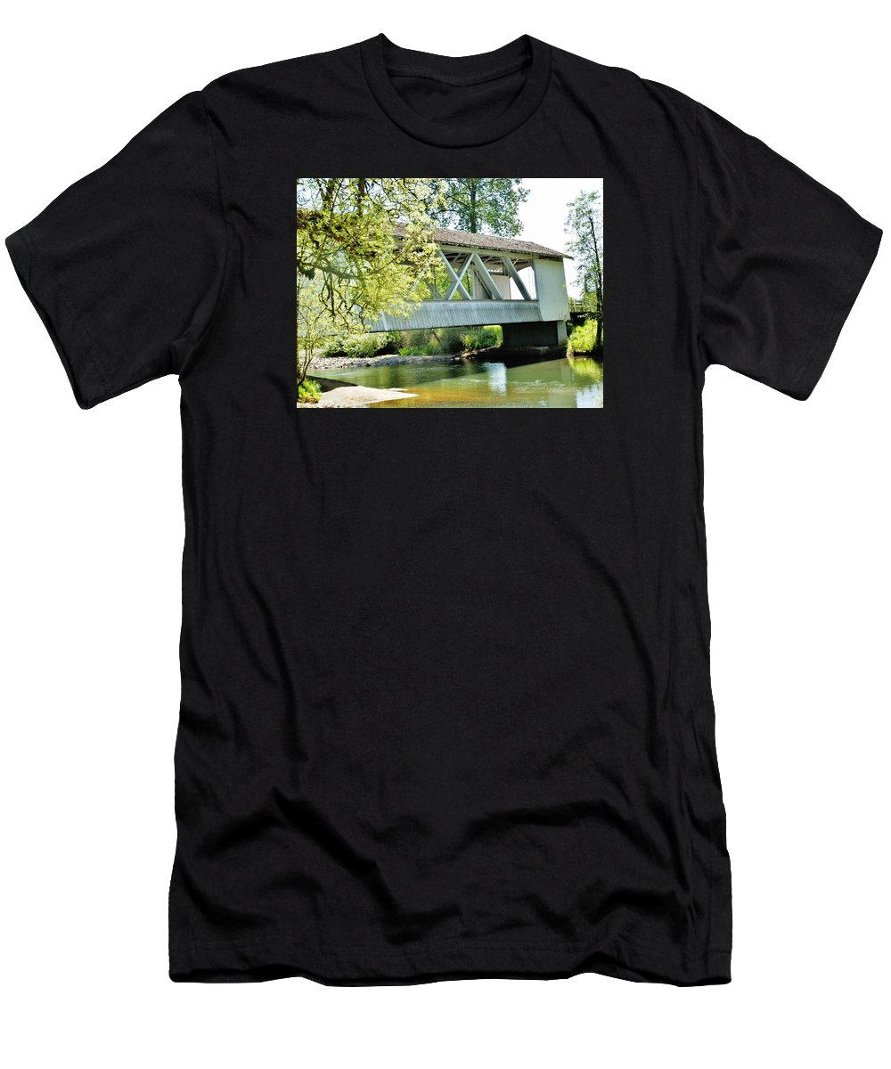 Bridge Men's T-Shirt (Athletic Fit) featuring the photograph Larwood Covered Bridge by VLee Watson