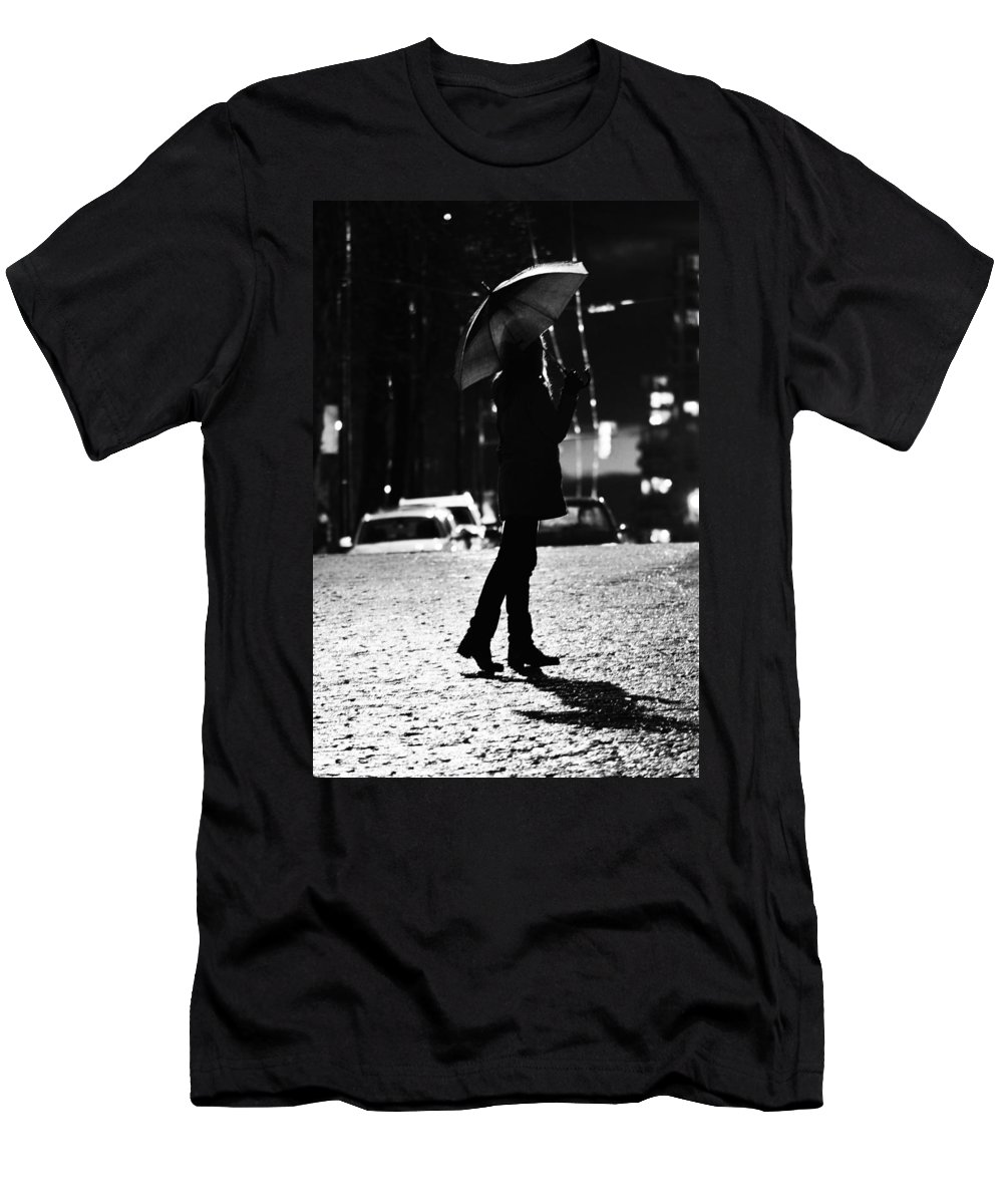 Street Photography Men's T-Shirt (Athletic Fit) featuring the photograph last Cab by The Artist Project
