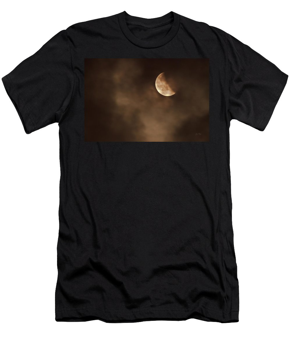 Science Men's T-Shirt (Athletic Fit) featuring the photograph Last Stage Of The Total Lunar Eclipse April 15 Blood Moon Through The Clouds by Eti Reid