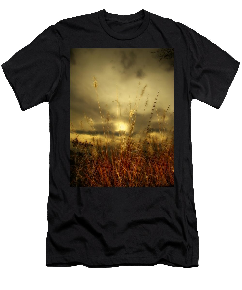 Sunset Men's T-Shirt (Athletic Fit) featuring the photograph Late Summer Sun Through The High Grass by Gothicrow Images