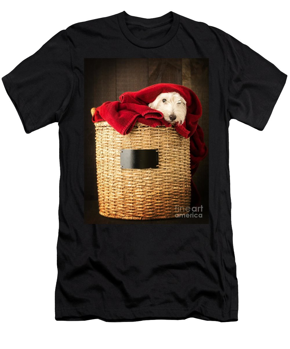 Dog Men's T-Shirt (Athletic Fit) featuring the photograph Laundry Day by Edward Fielding