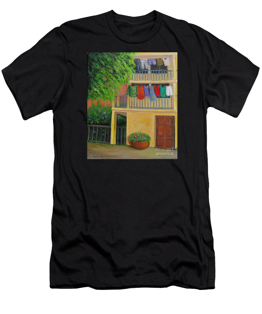 Laundry T-Shirt featuring the painting Laundry Day by Laurie Morgan
