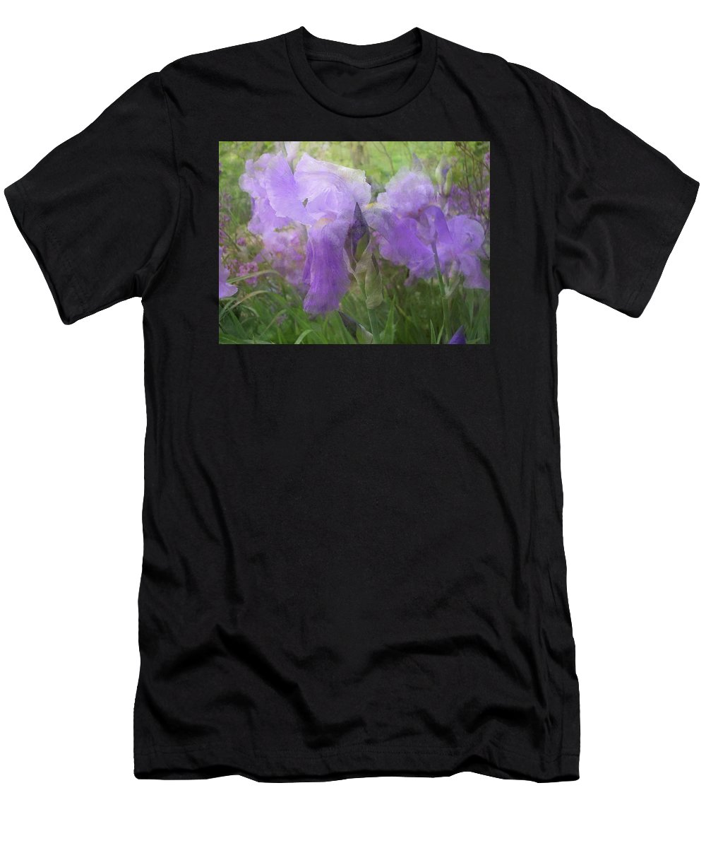 Iris Men's T-Shirt (Athletic Fit) featuring the photograph Lavender Blue Iris Garden by Mary Wolf