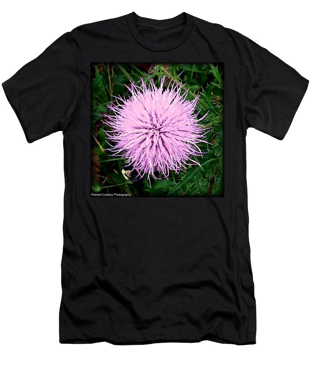 Bee Men's T-Shirt (Athletic Fit) featuring the photograph Lavender Bumble 2 by Daniel Jakus