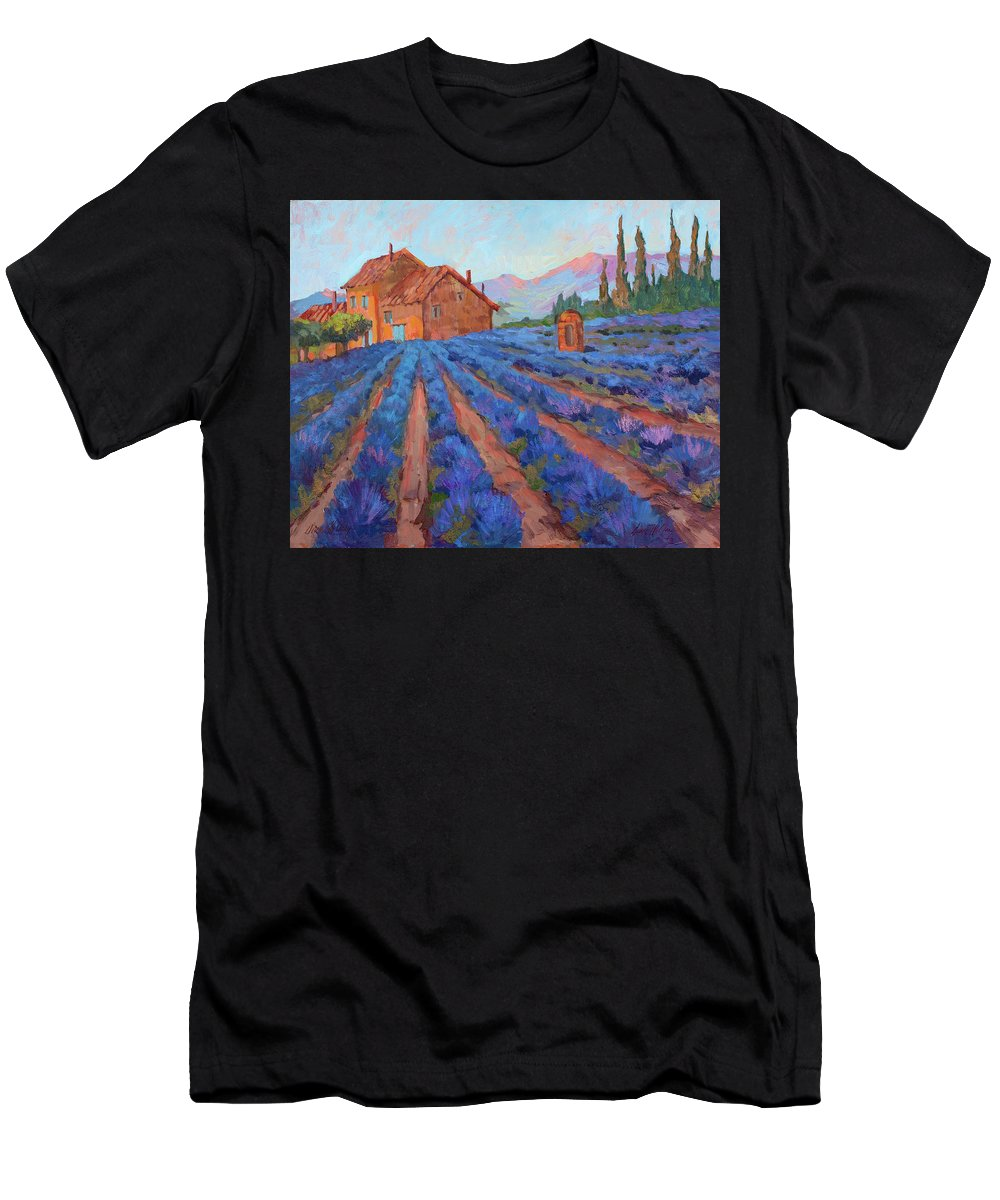Lavender Field Men's T-Shirt (Athletic Fit) featuring the painting Lavender Field Provence by Diane McClary