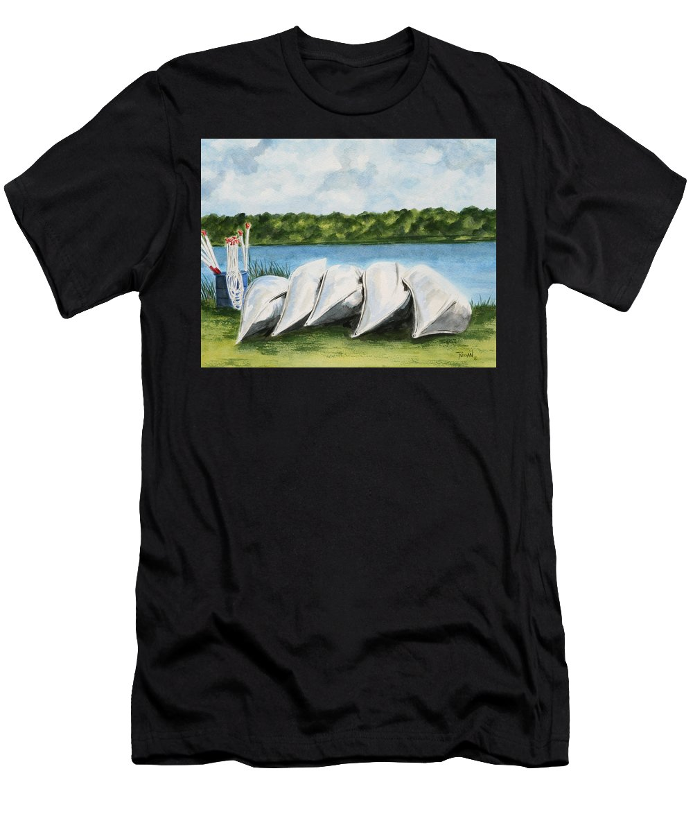 Canoes Men's T-Shirt (Athletic Fit) featuring the painting Lazy River by Regan J Smith