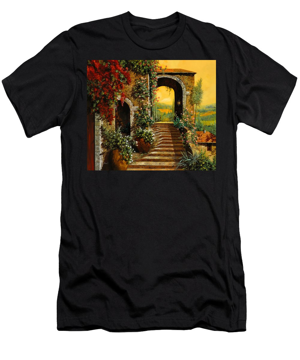 Arch Men's T-Shirt (Athletic Fit) featuring the painting Le Scale  by Guido Borelli
