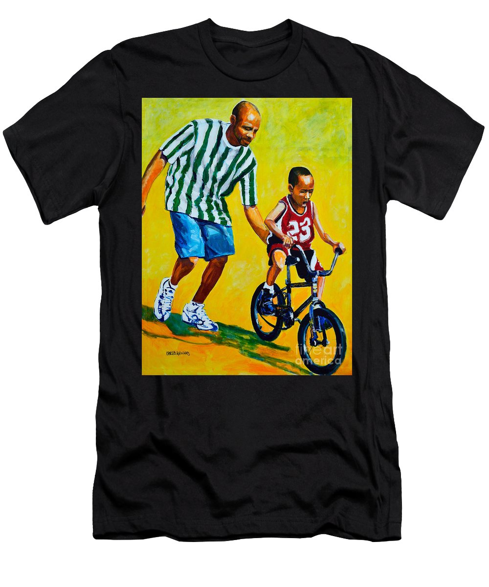 Bicycle Men's T-Shirt (Athletic Fit) featuring the painting Learning To Rode by Charles M Williams