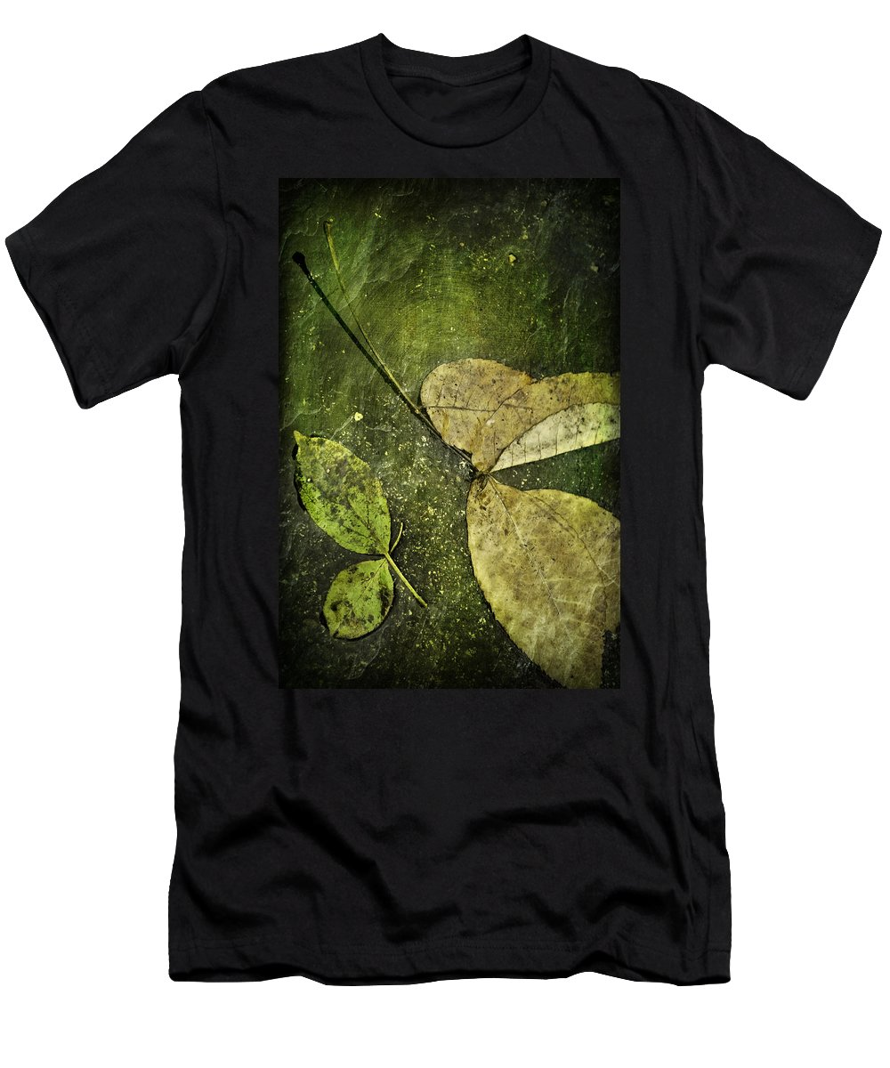 Leaves Men's T-Shirt (Athletic Fit) featuring the photograph Leaves Afloat by Melissa Smith