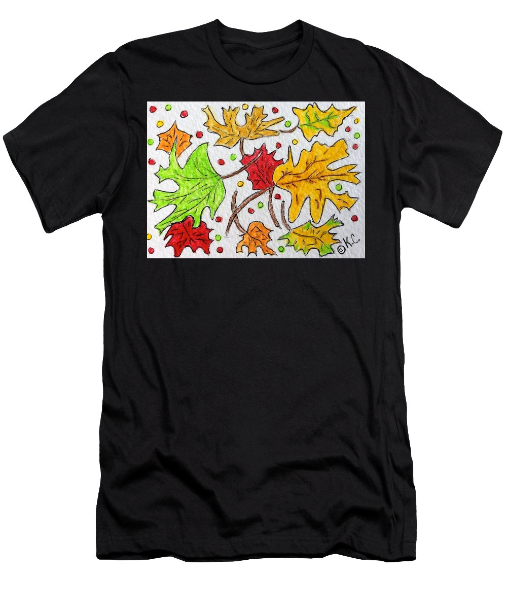Leaves Men's T-Shirt (Athletic Fit) featuring the painting Leaves Are Falling by Kathy Marrs Chandler