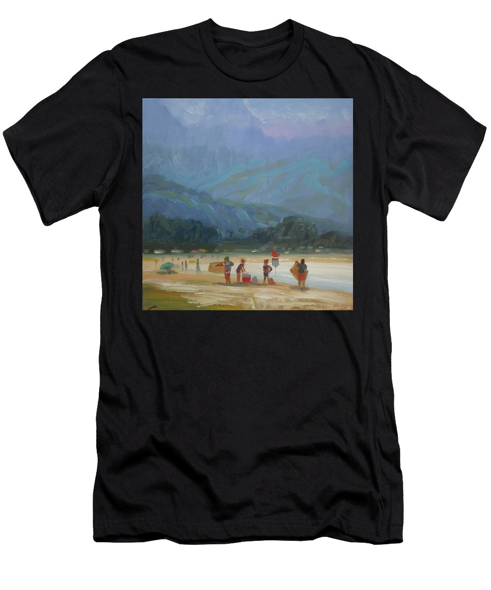 Landscape Men's T-Shirt (Athletic Fit) featuring the painting Leaving The Beach by Elena Sokolova