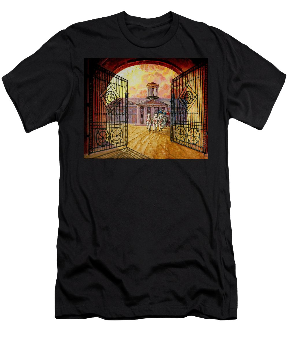 Manor House In Russia Men's T-Shirt (Athletic Fit) featuring the painting Leaving The Mansion by Raffi Jacobian