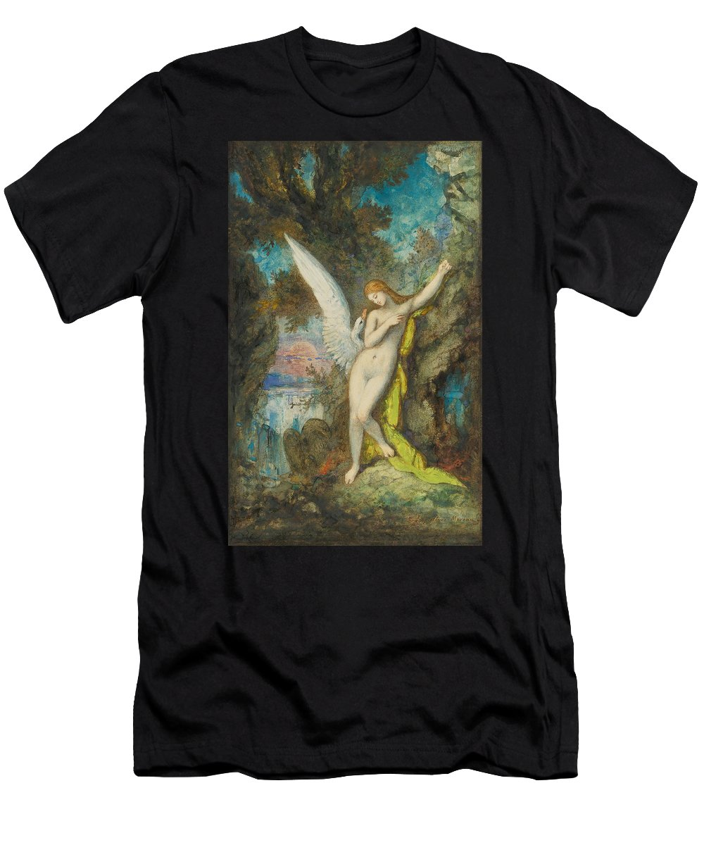 Gustave Moreau Men's T-Shirt (Athletic Fit) featuring the painting Leda And The Swan by Gustave Moreau