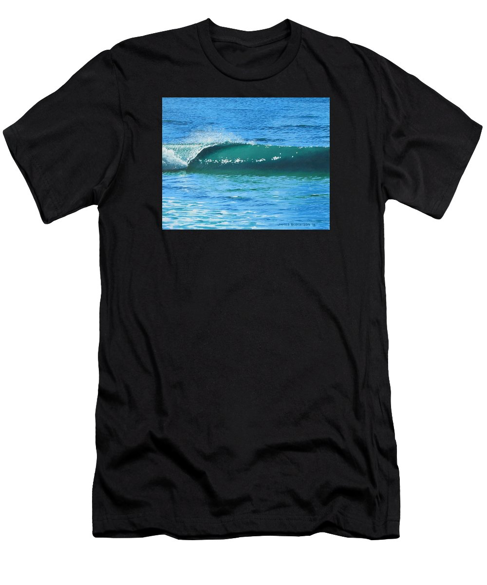 Ocean Men's T-Shirt (Athletic Fit) featuring the painting Left Curl 2 by James Robertson