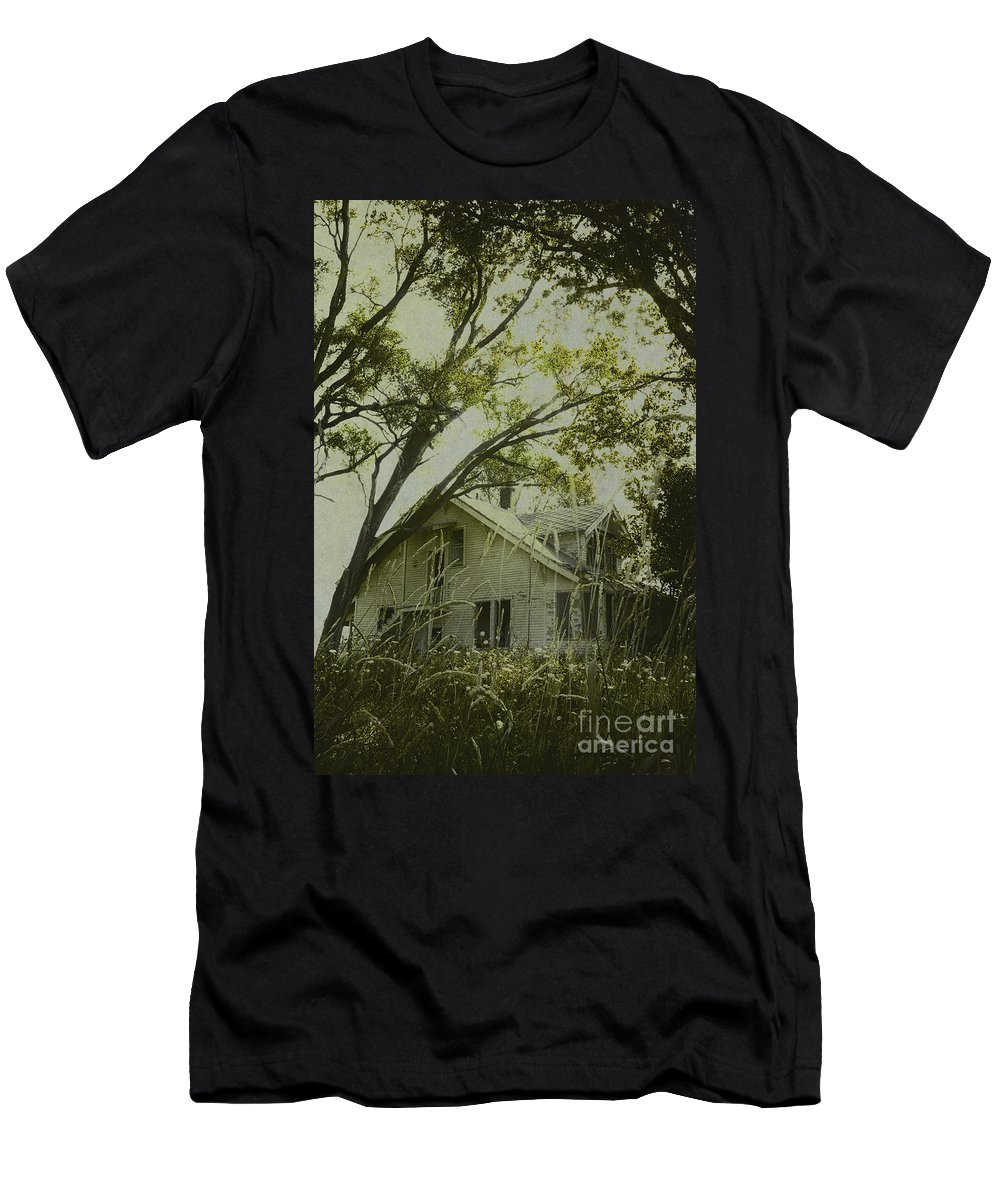 House; Home; Small; Farm House; Wood; Falling Apart; Weeds; Grasses; Trees; Secluded; Abandoned; Desolate; Closed; Dark; Darkness; Ominous; Foreboding; Mystery; Mysterious; Deserted; Shroud; Shrouded; Covered; Enclosed; Green Men's T-Shirt (Athletic Fit) featuring the photograph Left In The Trees by Margie Hurwich