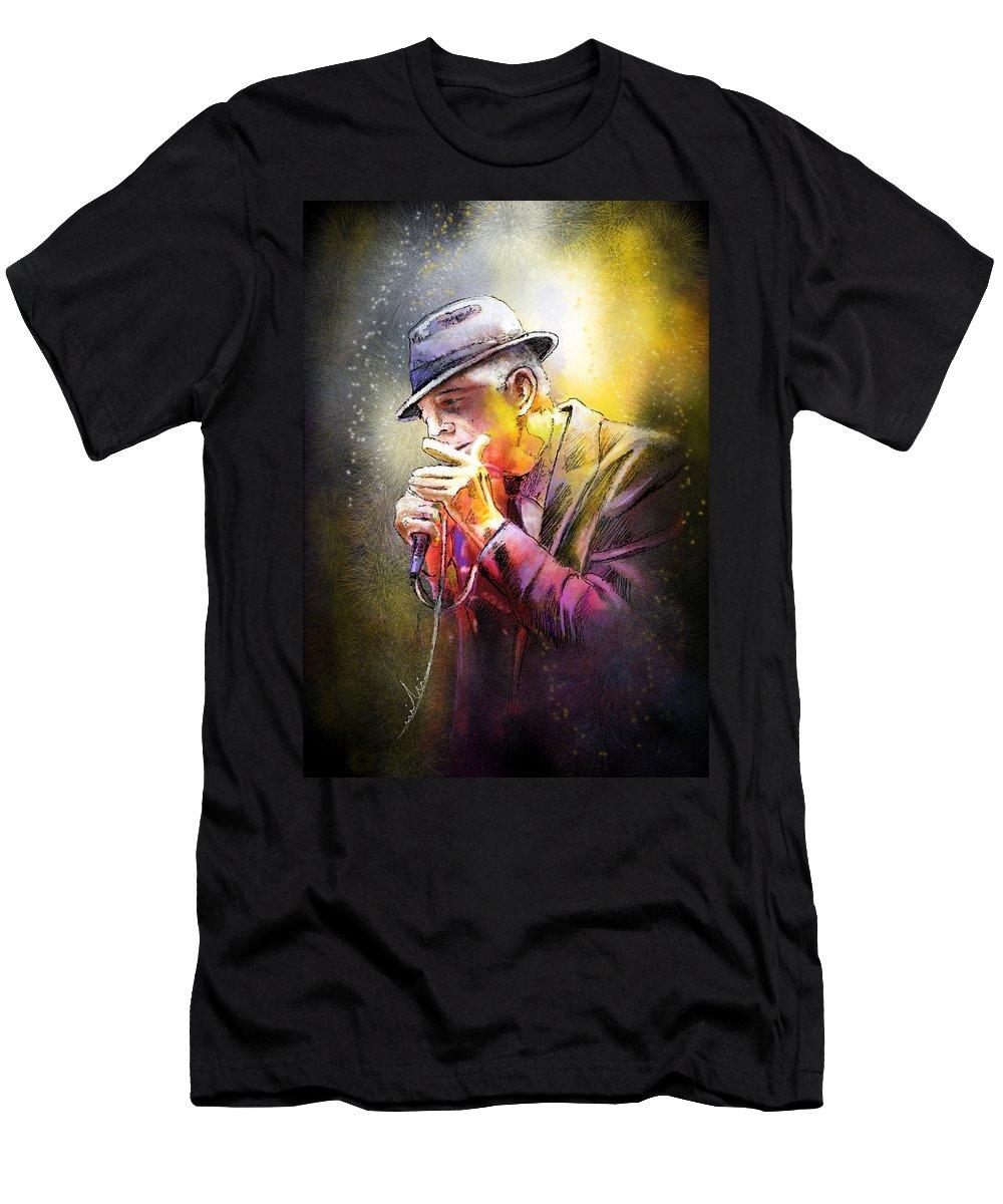 Leonard Cohen T-Shirt featuring the painting Leonard Cohen 02 by Miki De Goodaboom