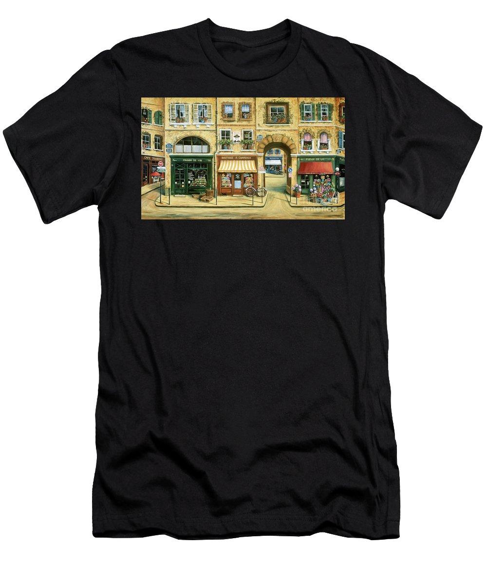 Wine Shop Men's T-Shirt (Athletic Fit) featuring the painting Les Rues De Paris by Marilyn Dunlap