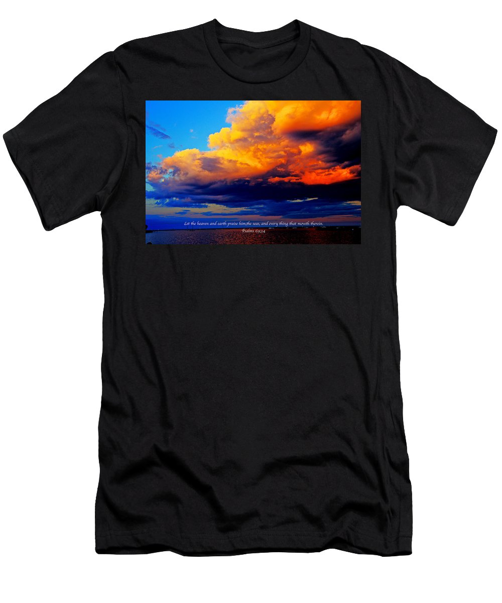 Clouds Men's T-Shirt (Athletic Fit) featuring the photograph Let The Heavens by Debbie Nobile
