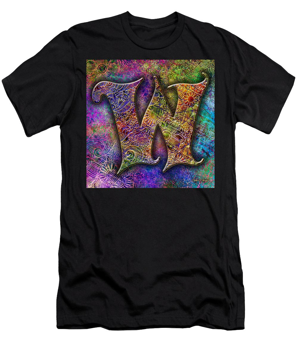 Alphabet Men's T-Shirt (Athletic Fit) featuring the digital art Letter W by Barbara Berney