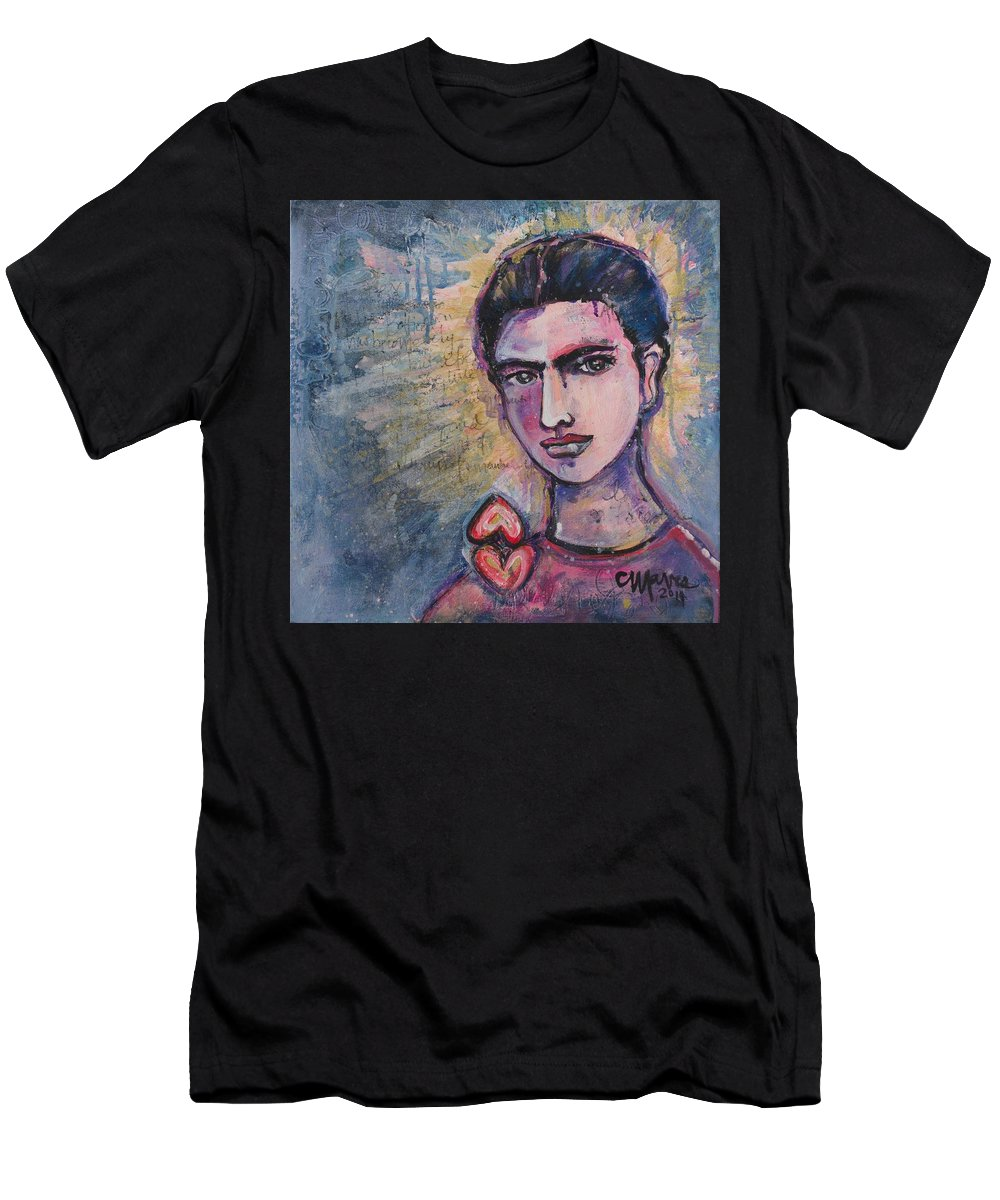 Frida Men's T-Shirt (Athletic Fit) featuring the painting Letters To Alejandro by Laurie Maves ART