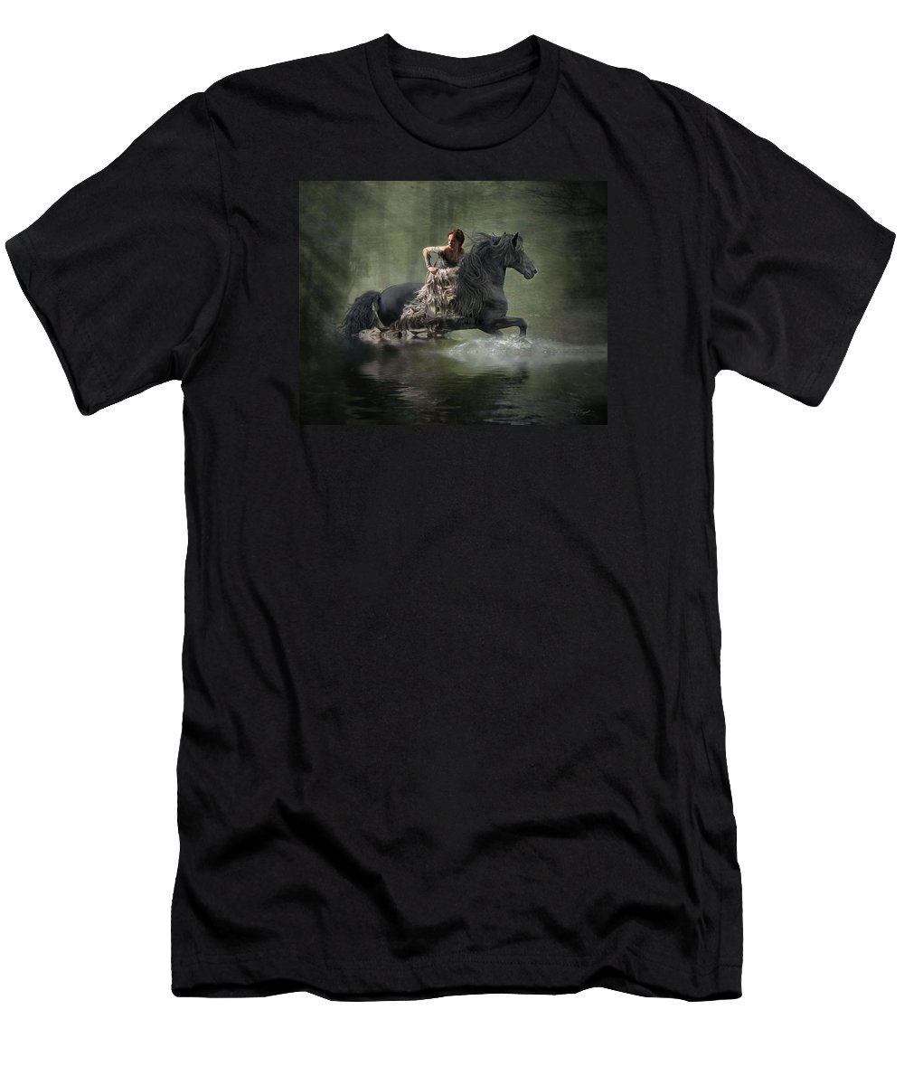 Girl Fleeing On Horse T-Shirt featuring the photograph Liberated by Fran J Scott