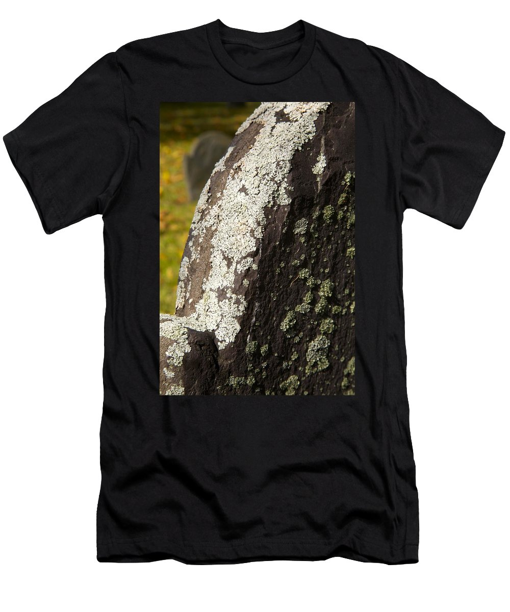 Old Headstone Men's T-Shirt (Athletic Fit) featuring the photograph Lichen On Headstone by Allan Morrison