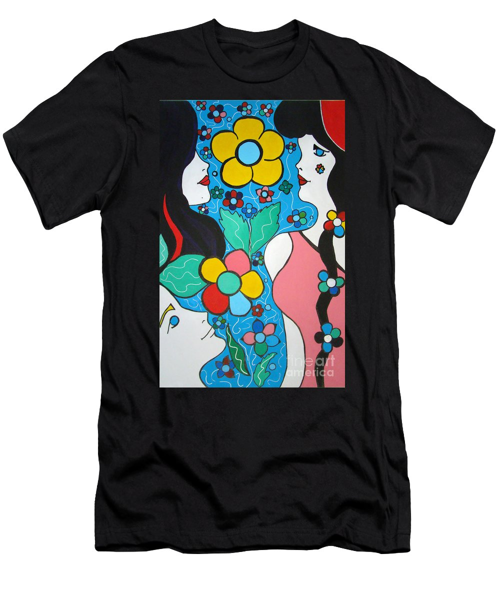 Pop-art Men's T-Shirt (Athletic Fit) featuring the painting Life Is Beautiful by Silvana Abel