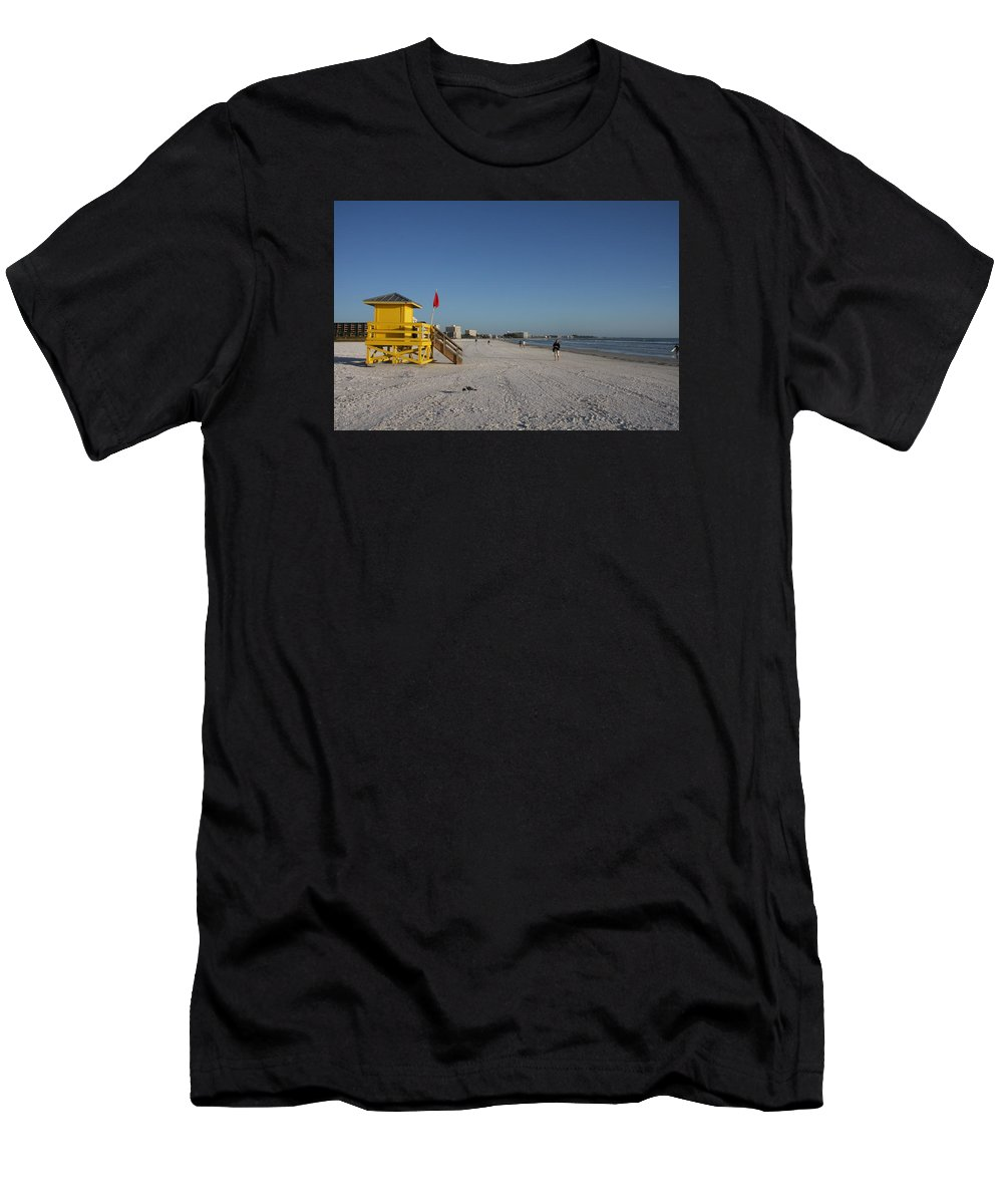 Lifegard Men's T-Shirt (Athletic Fit) featuring the photograph Lifeguard On Siesta Key by Christiane Schulze Art And Photography