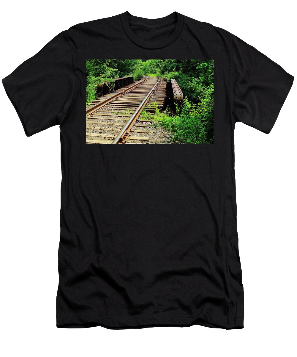 Railroads Men's T-Shirt (Athletic Fit) featuring the photograph Life's Journey by Ira Shander