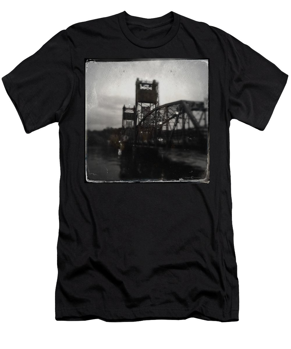 Lift Bridge Men's T-Shirt (Athletic Fit) featuring the photograph Lift Bridge Last Of April by Tim Nyberg