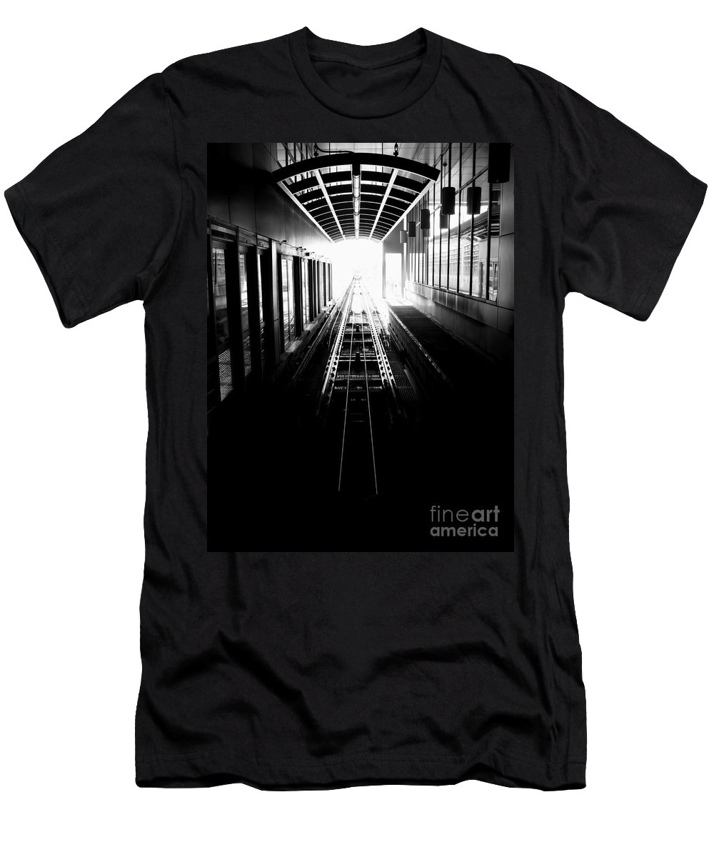 Airport Men's T-Shirt (Athletic Fit) featuring the photograph Light At The End Of The Tunnel. by Bob Mintie