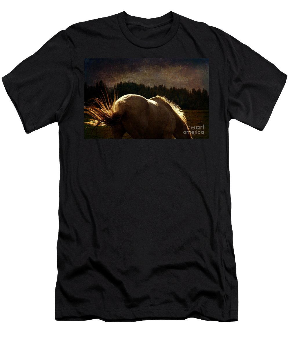 Equine Fine Art Men's T-Shirt (Athletic Fit) featuring the photograph Light Of Heaven by Annette Coady