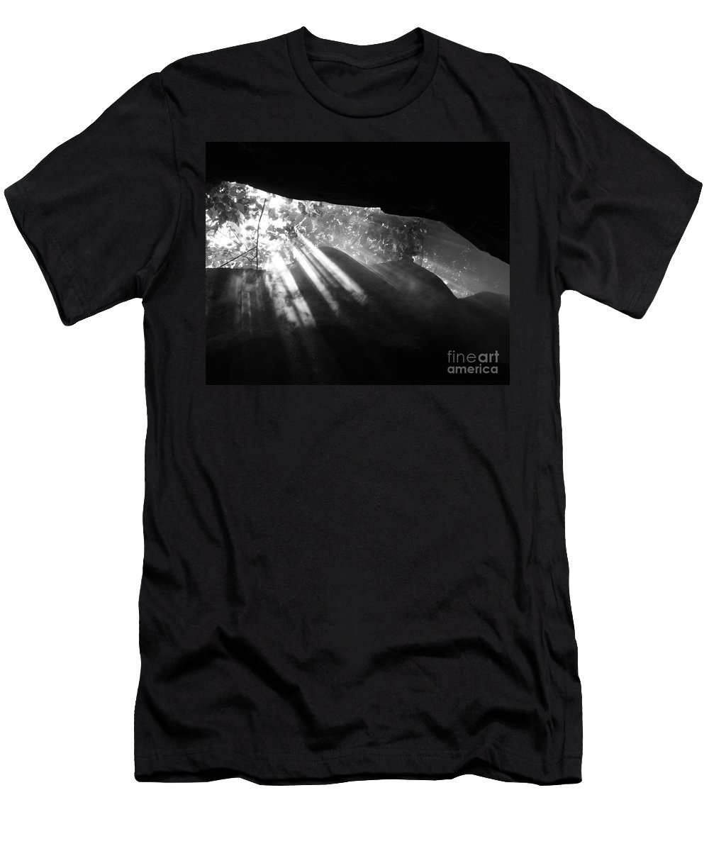 Light Men's T-Shirt (Athletic Fit) featuring the photograph Light Through Mist In Cave by Robin Maria Pedrero