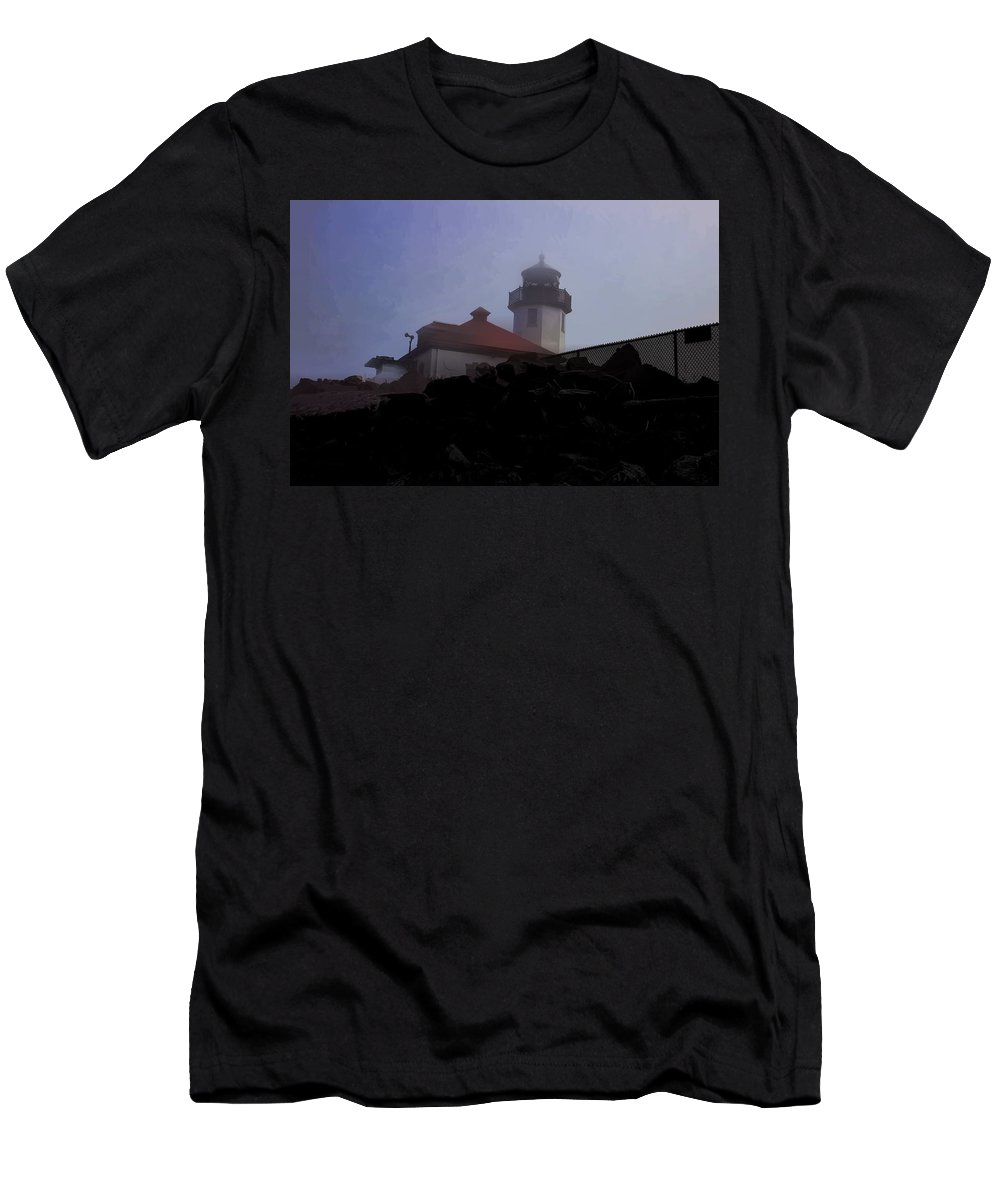 Men's T-Shirt (Athletic Fit) featuring the photograph Lighthouse At Alki Beach 2 by Cathy Anderson