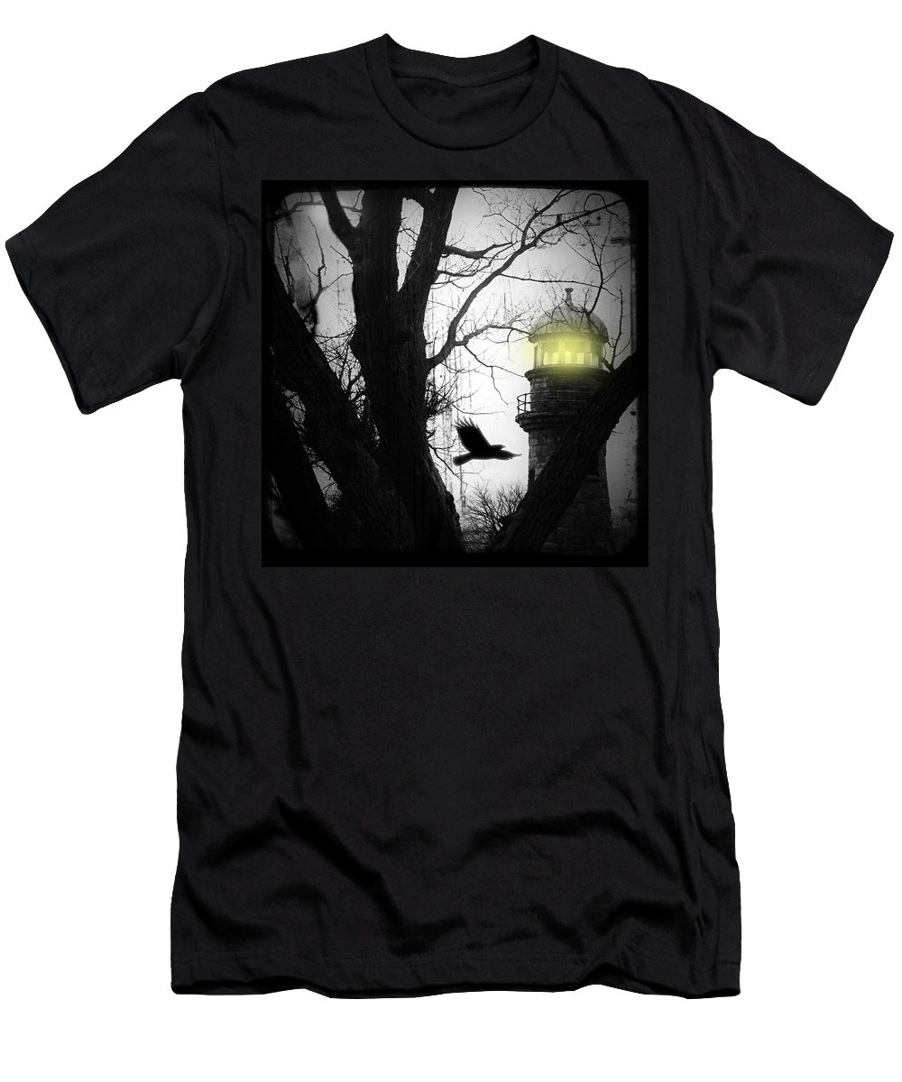 Lighthouse Men's T-Shirt (Athletic Fit) featuring the photograph The Lighthouse Is Lit by Gothicrow Images