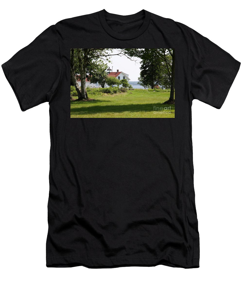 Fort Point Light Men's T-Shirt (Athletic Fit) featuring the photograph Lighthouse Hidden Behind Trees by Christiane Schulze Art And Photography